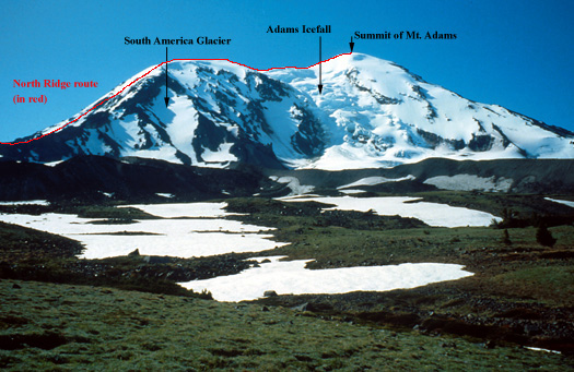 North Ridge route of Mt. Adams
